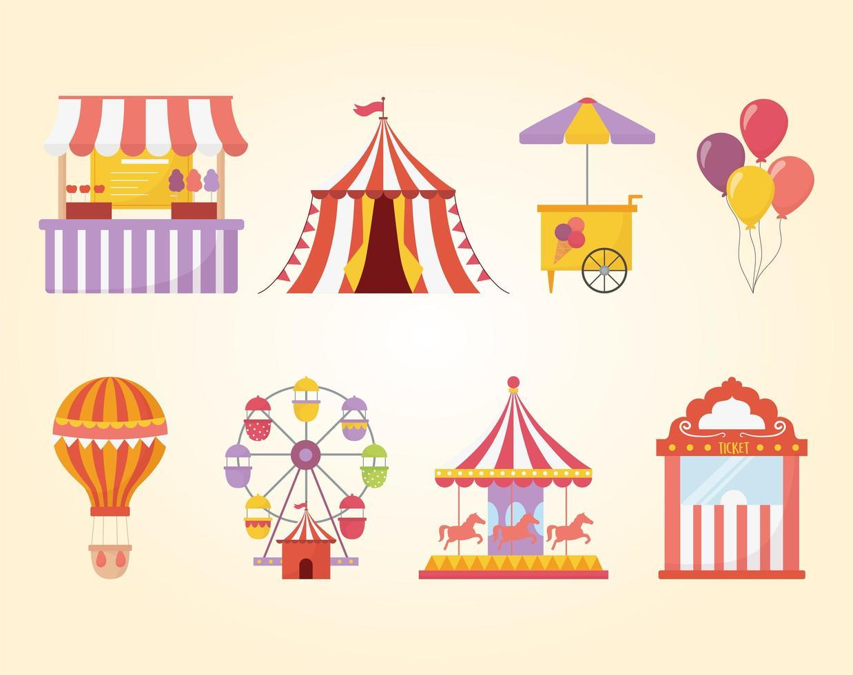 Conjunto de iconos de recreación de feria, carnaval y entretenimiento. vector