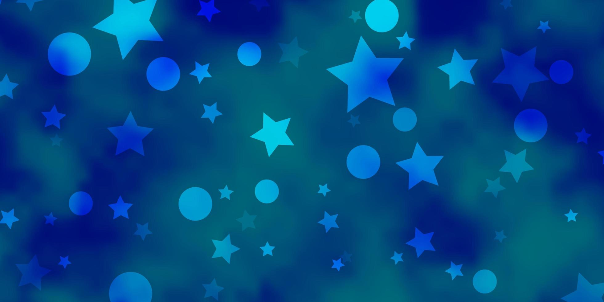 Blue pattern with circles, stars. vector