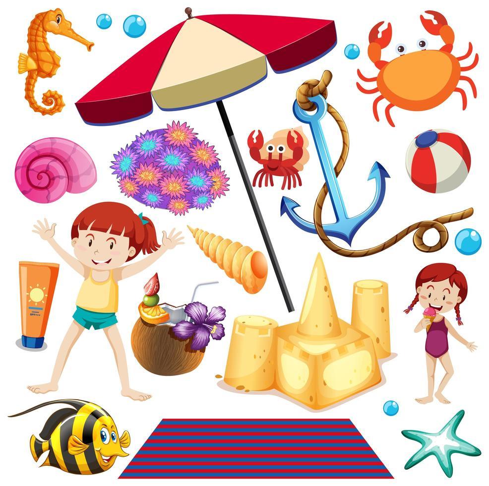 conjunto de objetos de playa de verano vector