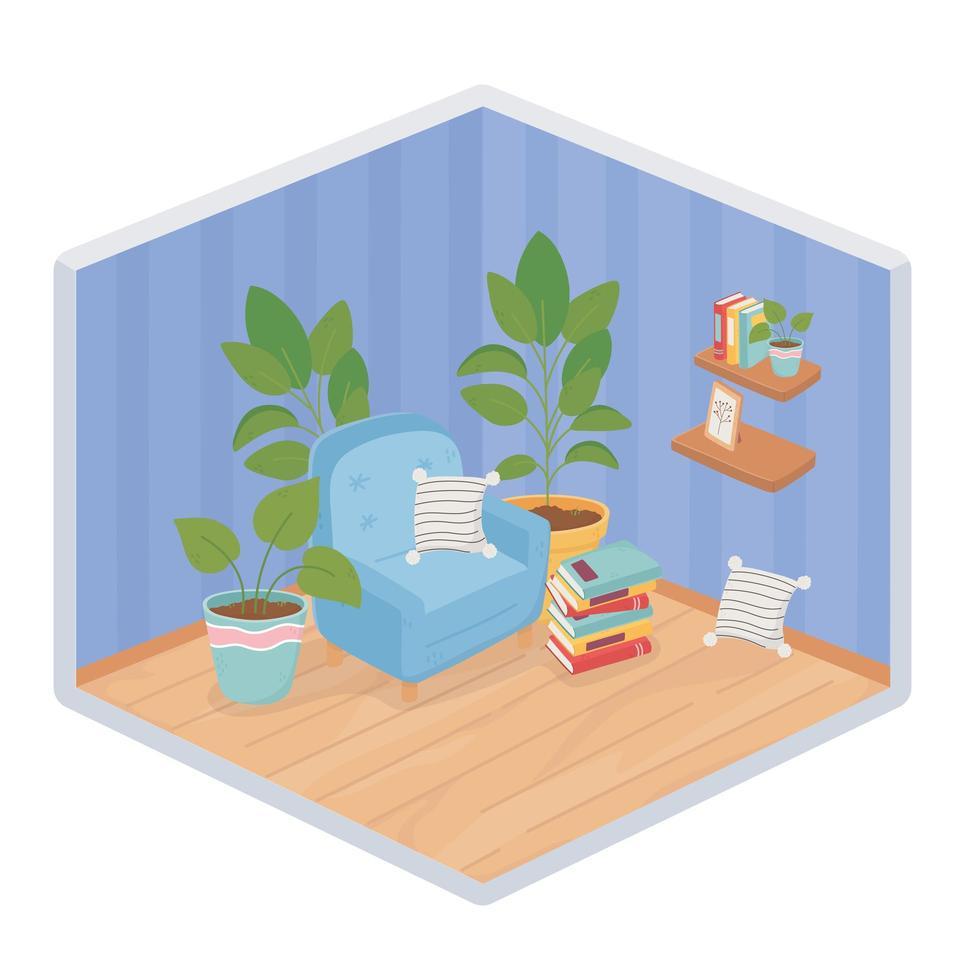 Sweet home interior, isometric corner composition vector