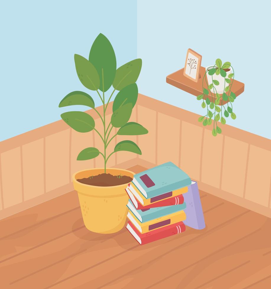 plantas en macetas en la esquina del interior de una casa vector