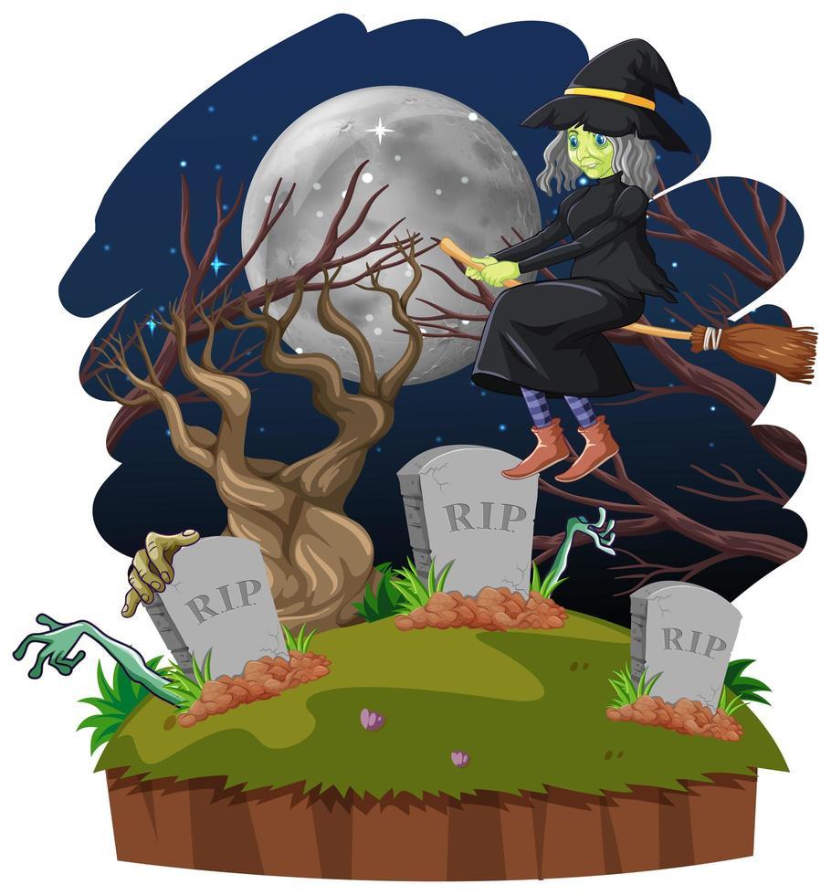 bruja montando escoba cerca del cementerio vector