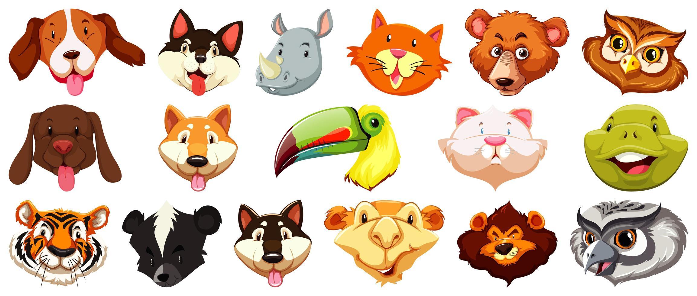 conjunto de diferentes cabezas de animales de dibujos animados lindo vector