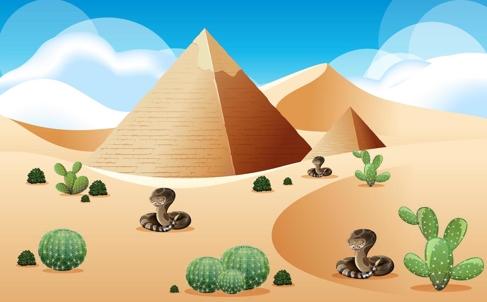 desierto con pirámide y paisaje de serpientes de cascabel en la escena diurna vector