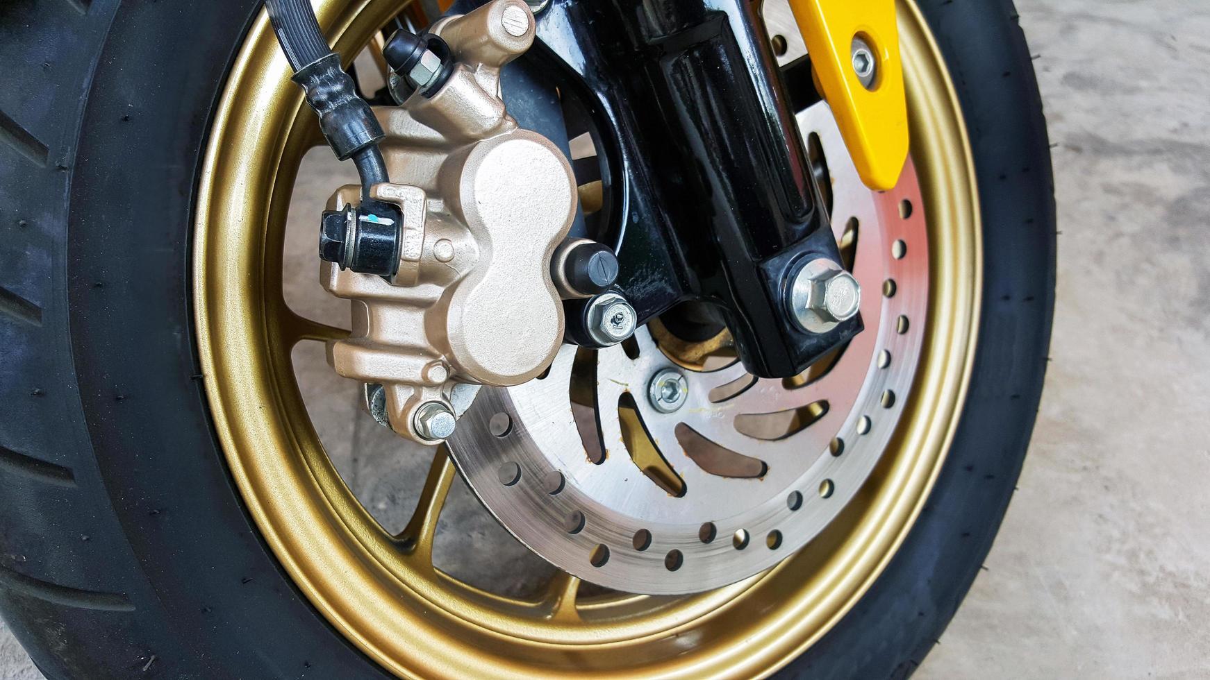 Close Up Of Motorcycle Disk Brake Stock Photo
