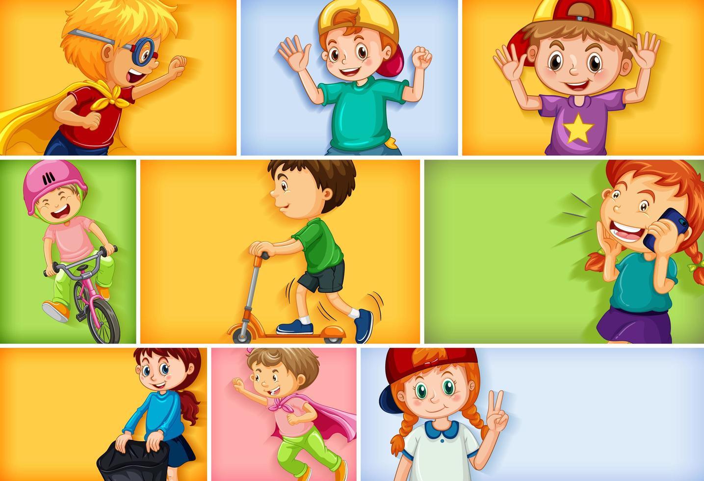 Conjunto de diferentes personajes infantiles sobre fondo de color diferente vector