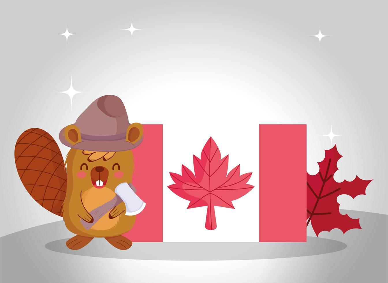 Castor canadiense para la celebración del día de Canadá vector