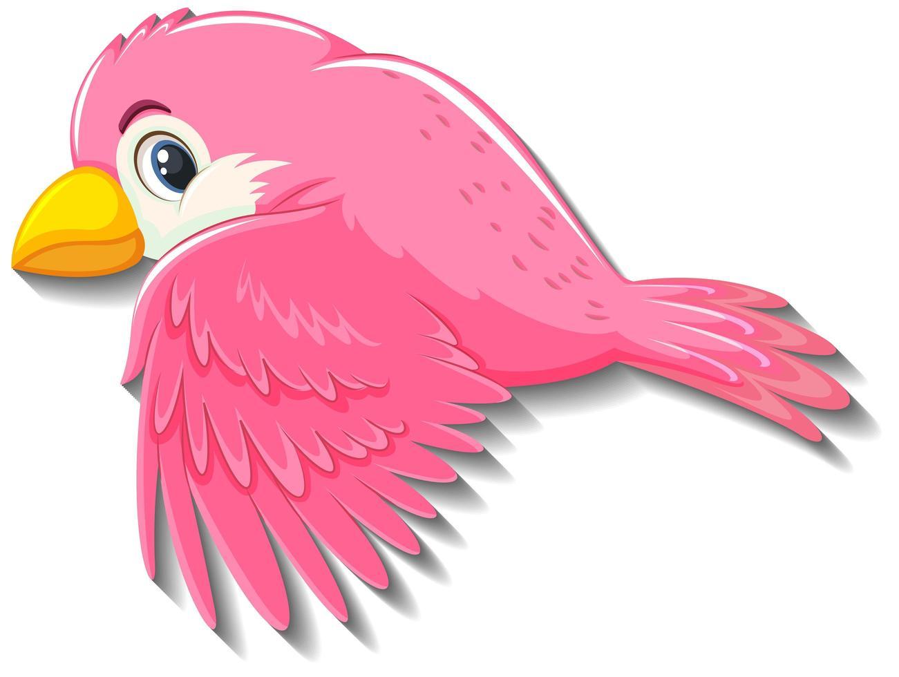 personaje de dibujos animados lindo pájaro rosa vector