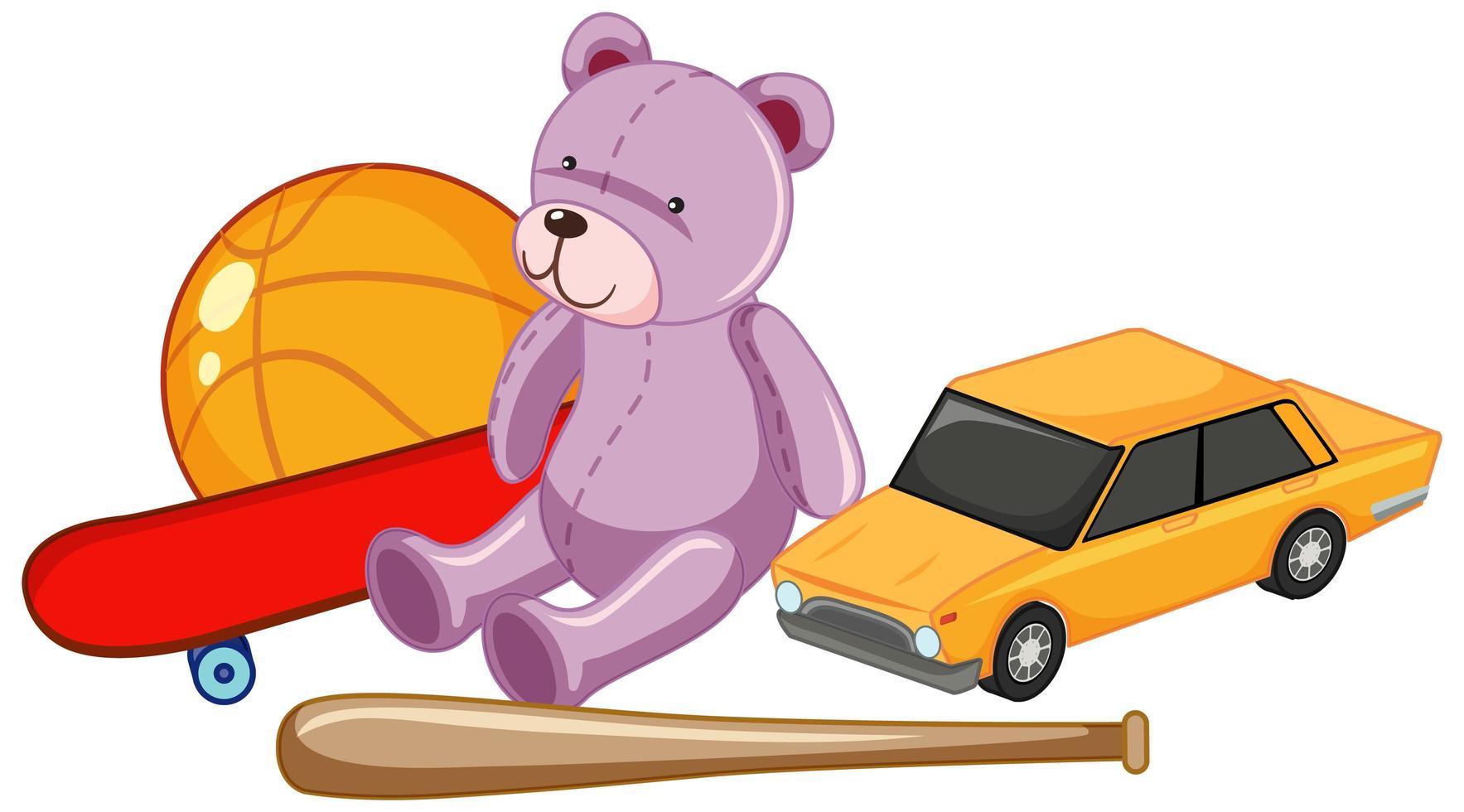 Grupo de juguetes para niños, como un oso de peluche, una pelota y un coche de juguete. vector