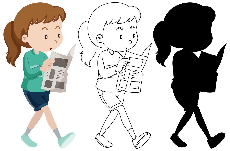 Mujer leyendo periódicos en color y contorno y silueta vector