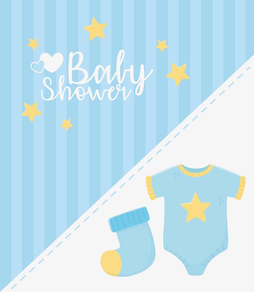 baby shower tarjeta azul con iconos de bebé vector