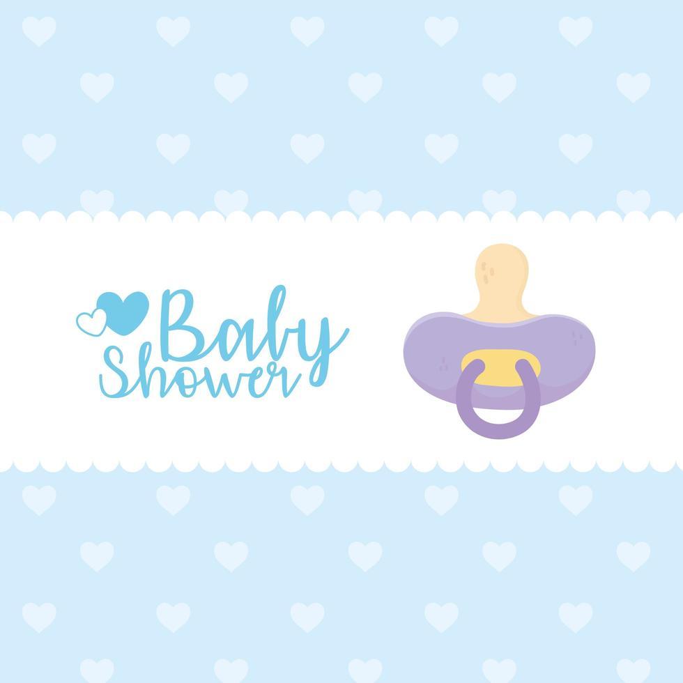 baby shower tarjeta azul con icono de bebé vector
