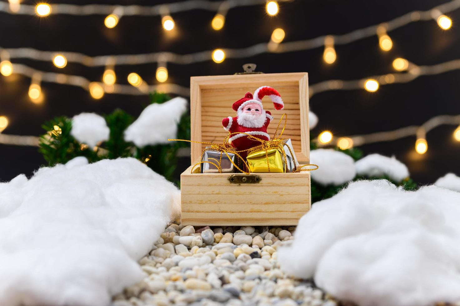 Merry Christmas background with miniature objects photo