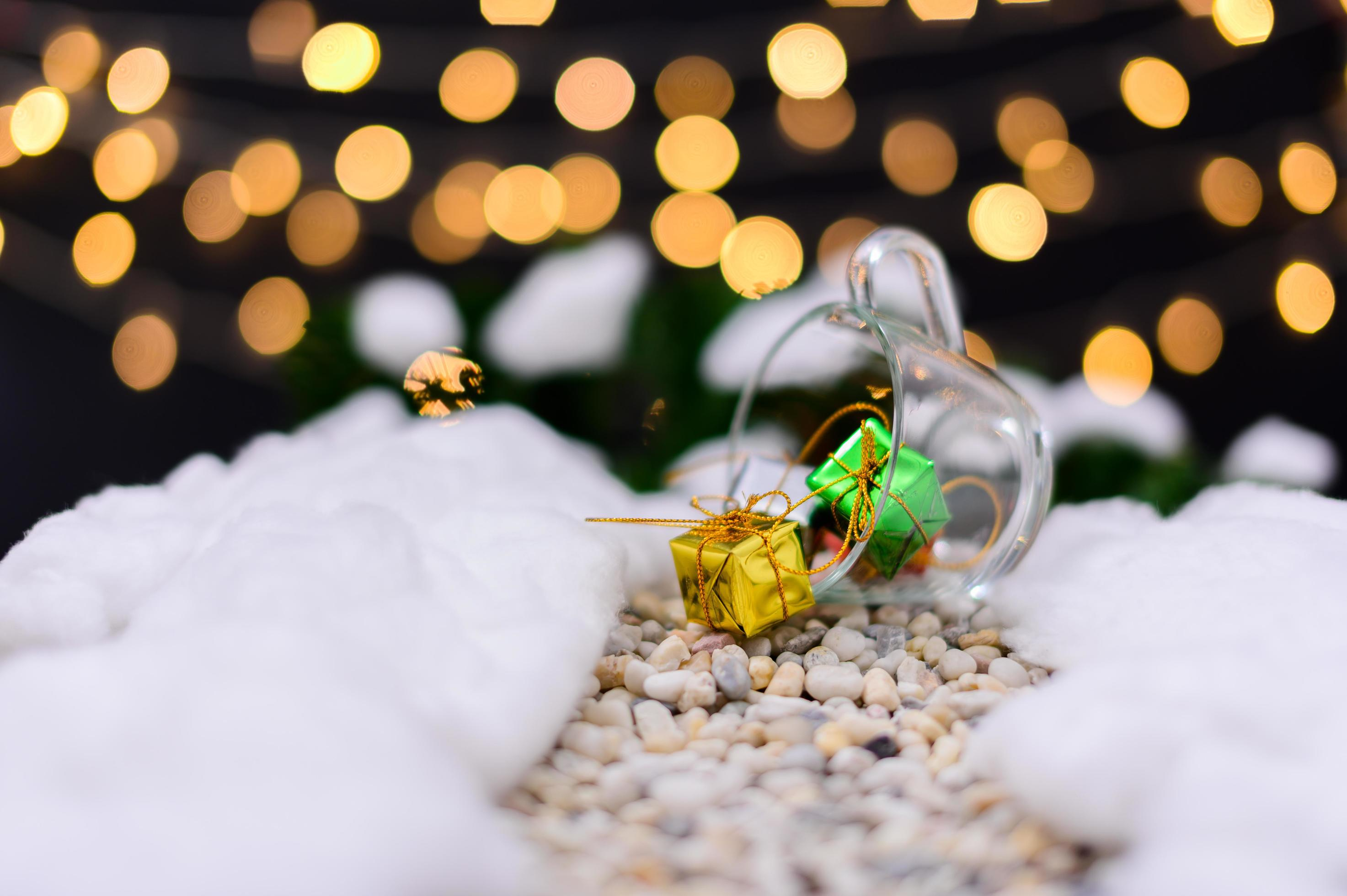 Merry Christmas Background With Miniature Objects Stock Photo