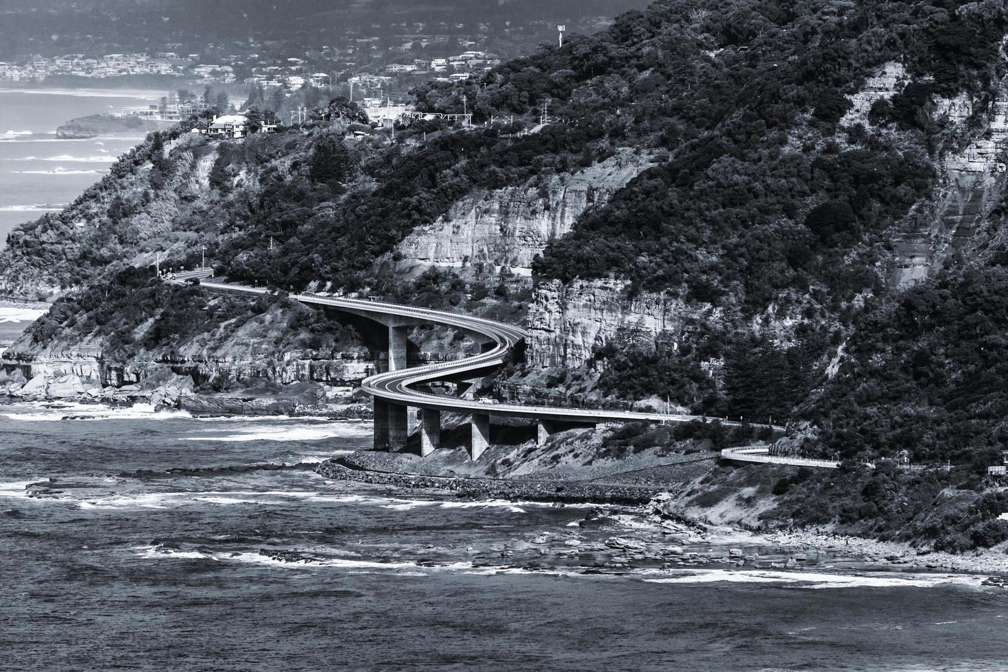 Grayscale of a bridge near the sea photo