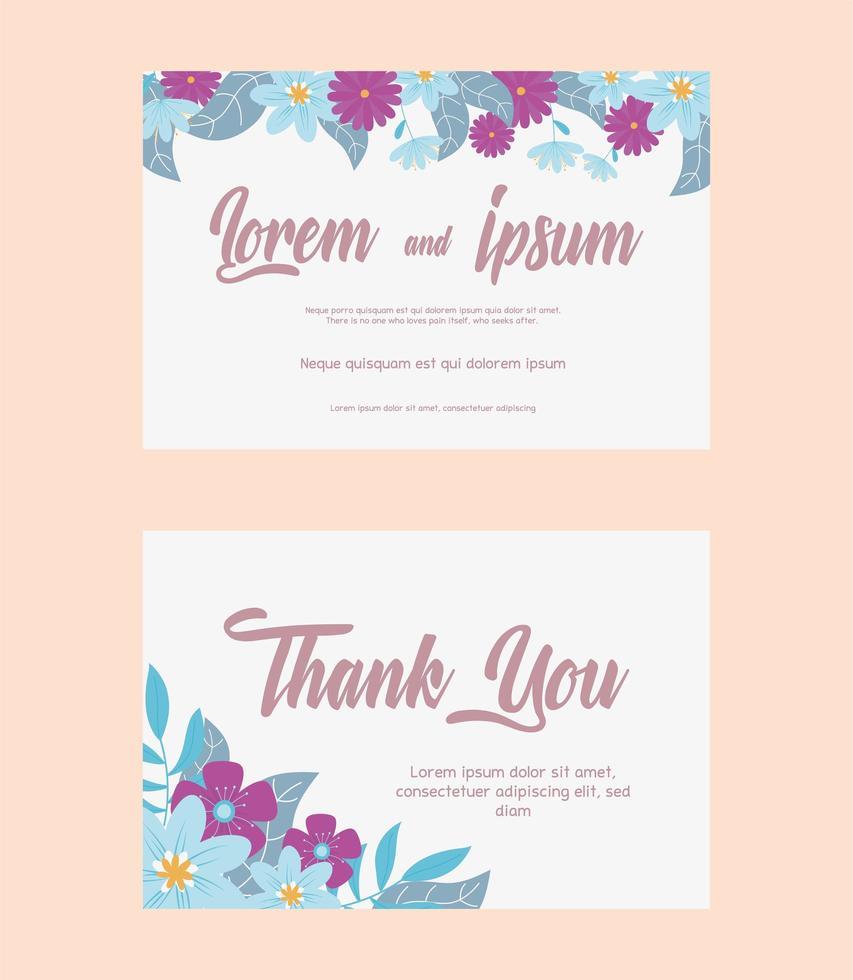 elegante conjunto floral de tarjetas de boda vector