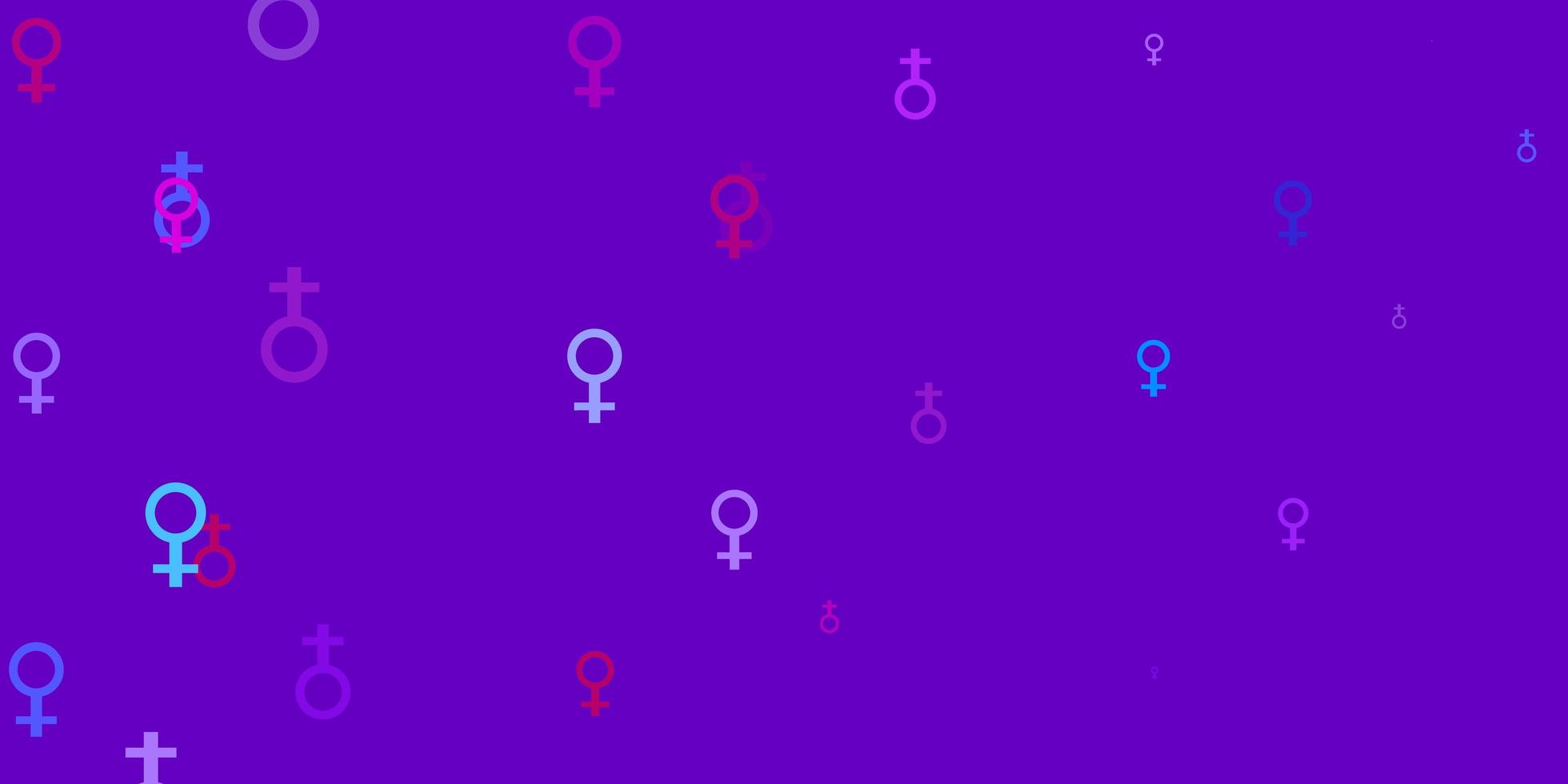 telón de fondo púrpura con símbolos de poder de la mujer. vector