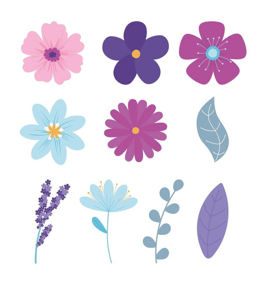 lindo conjunto de flores vector