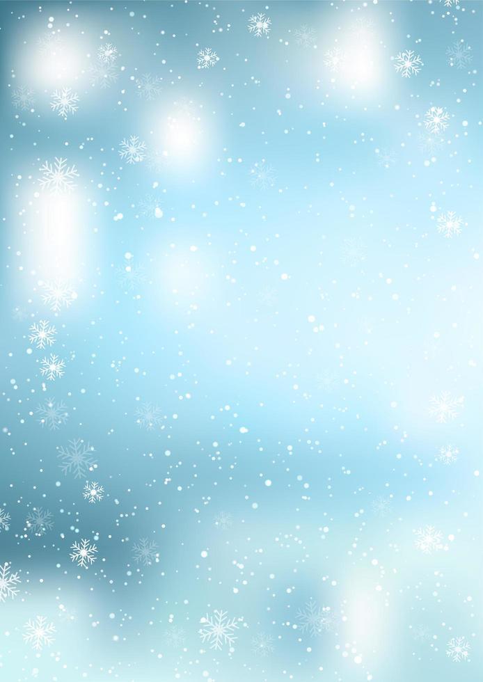 navidad fondo azul de copos de nieve cayendo vector