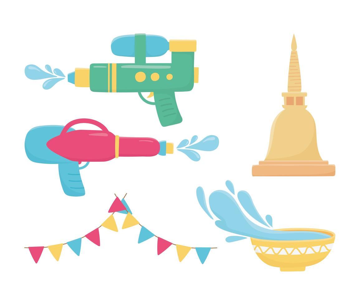conjunto de iconos de celebración del festival de songkran vector