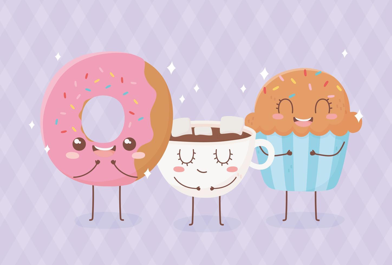 Composición del personaje de dibujos animados de comida kawaii vector