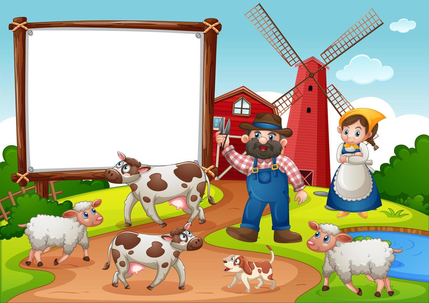 cartel de banner en blanco en la escena de la granja vector