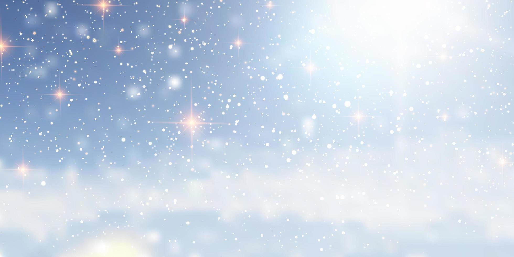 diseño de banner de navidad nevado con luces vector