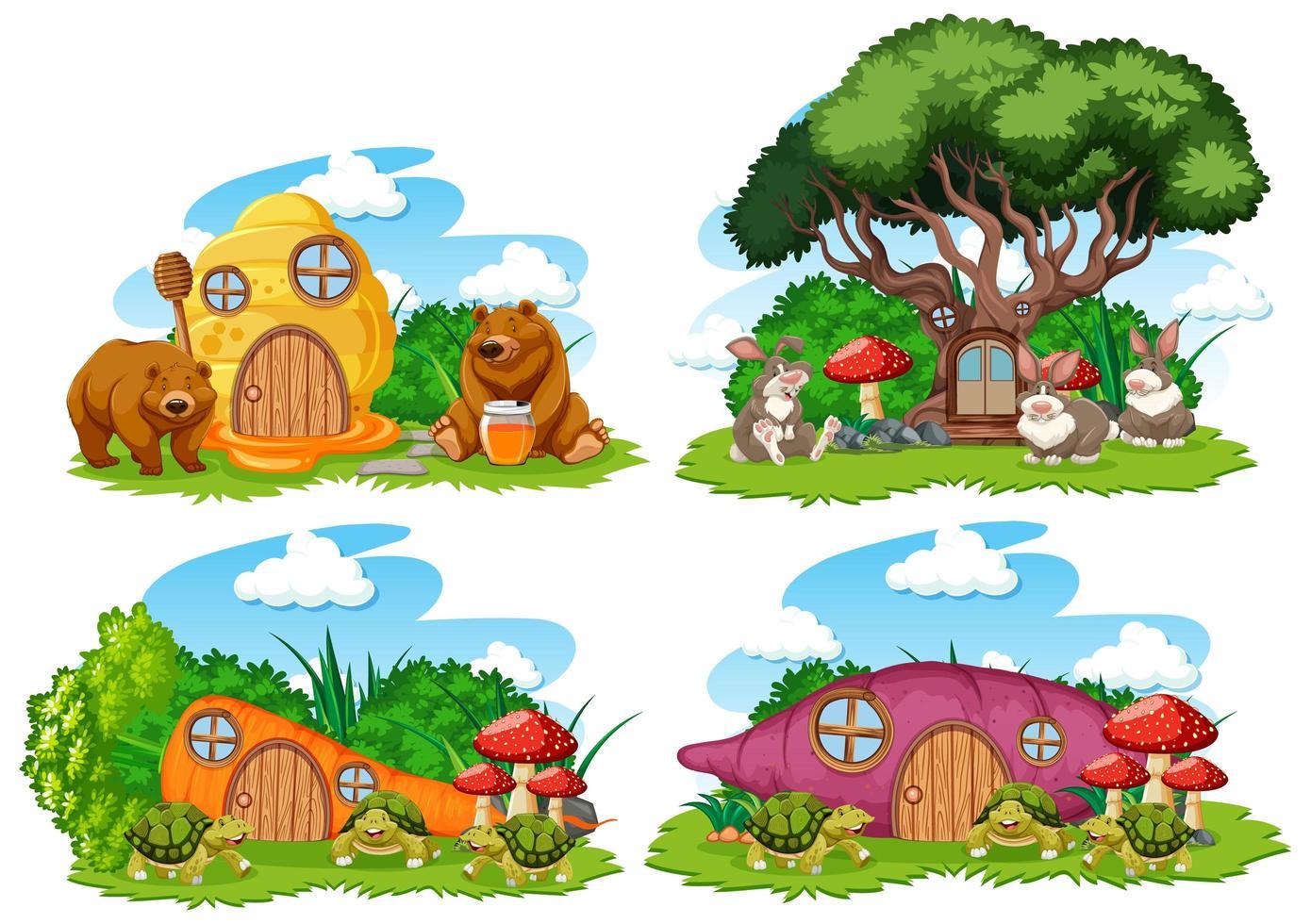 conjunto de casas de jardín de fantasía vector