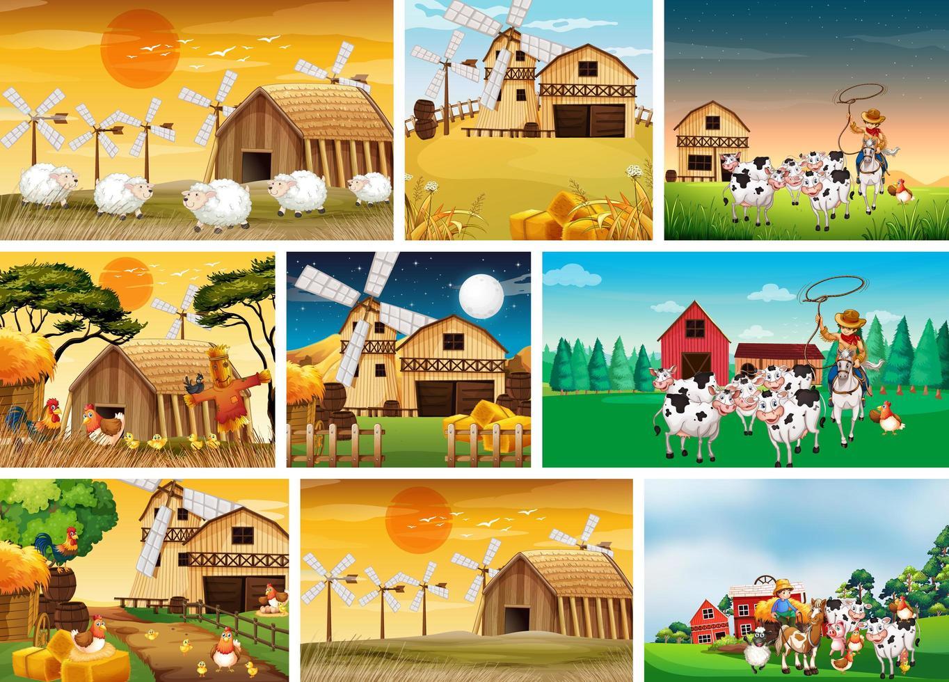 conjunto de escenas de la granja. vector