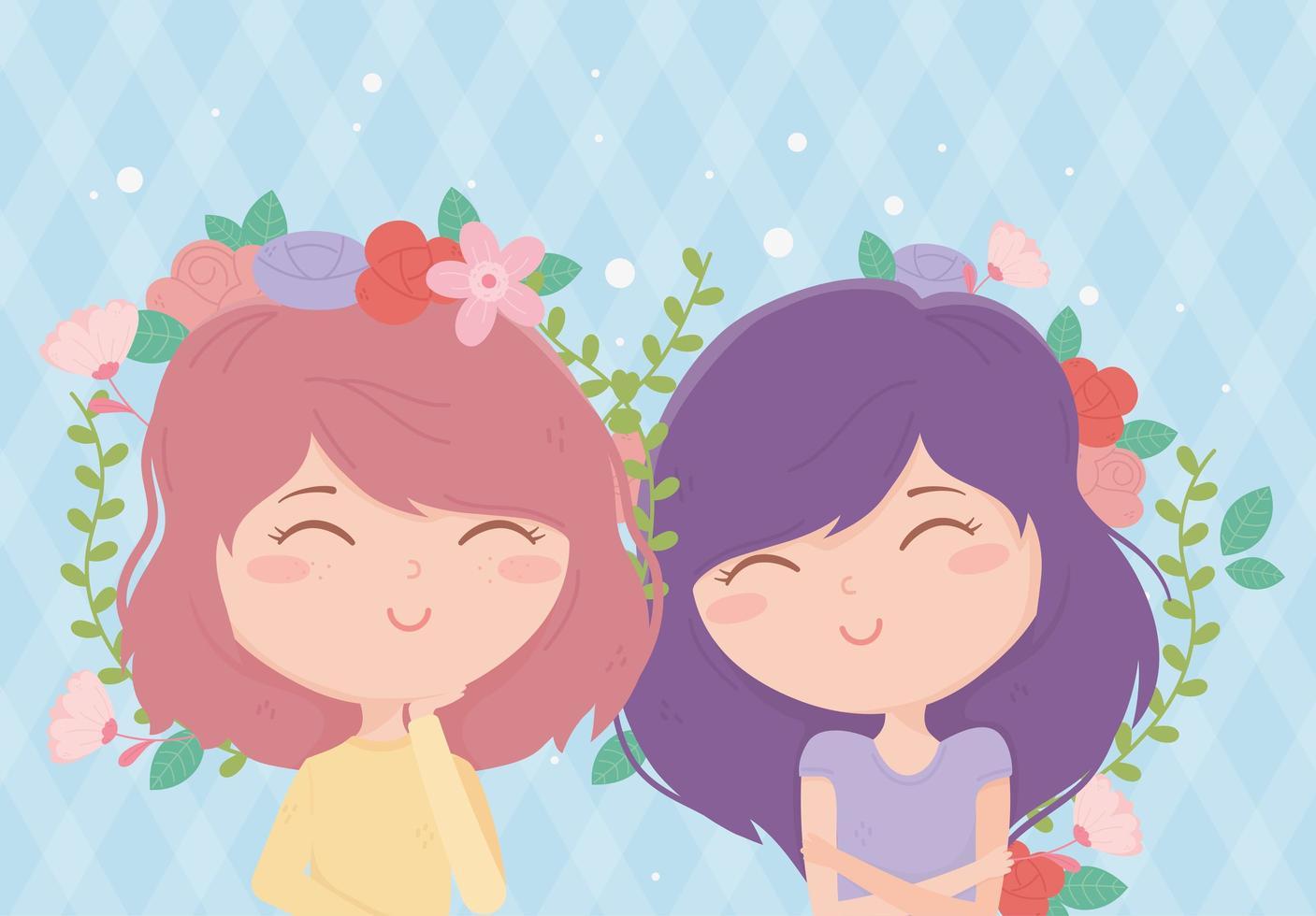 banner con mujeres jóvenes y flores. vector