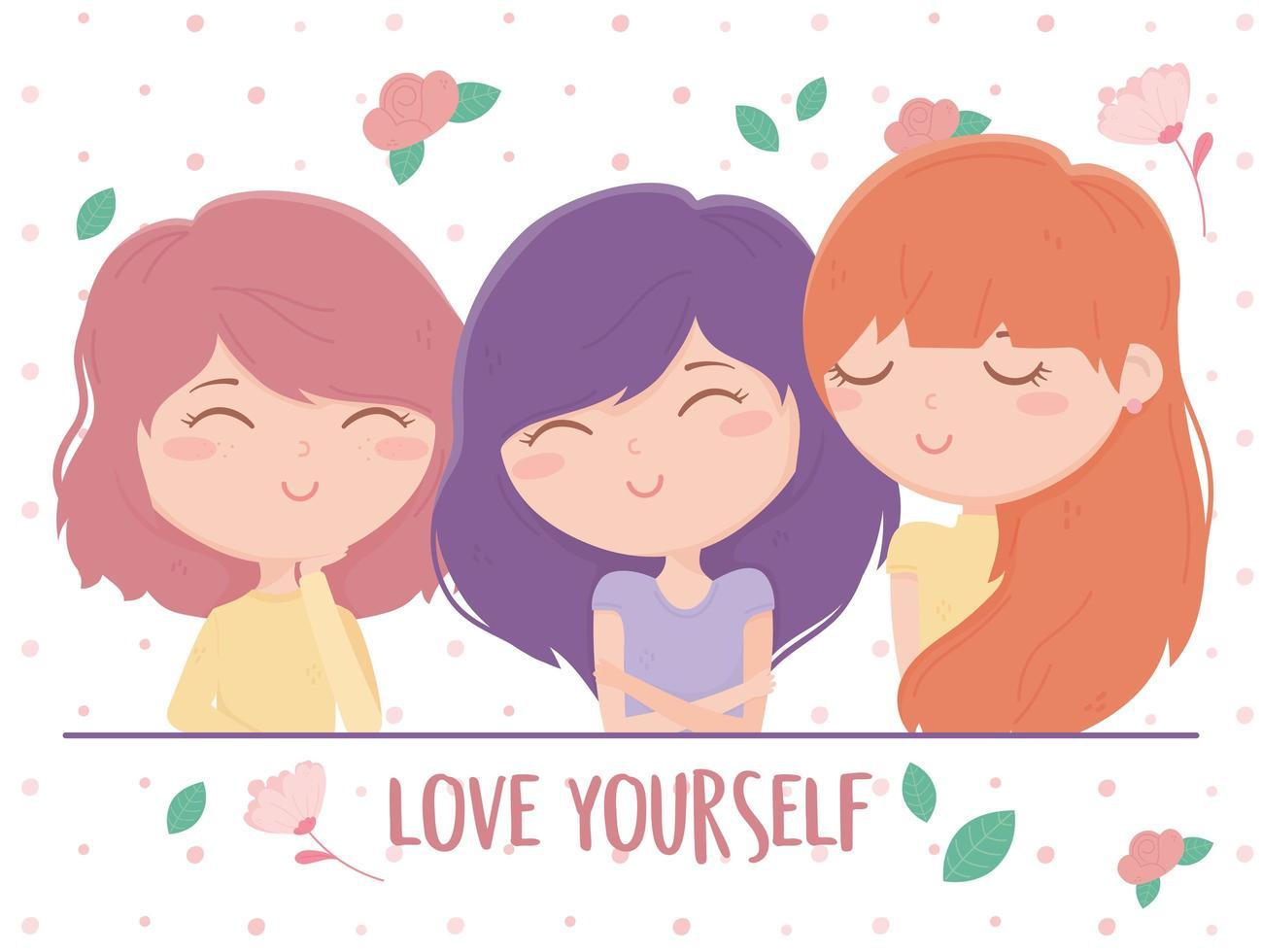 ámate a ti mismo composición con mujeres jóvenes y flores. vector