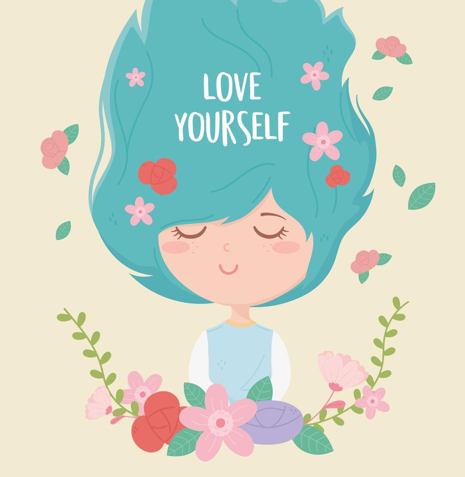 Ámate a ti mismo composición con mujer joven y flores. vector