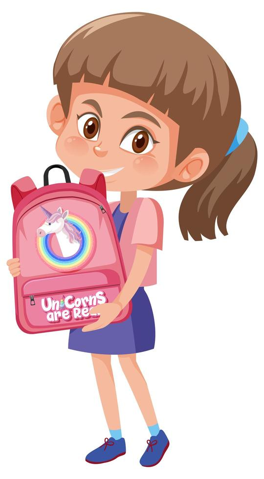 niña sosteniendo linda mochila vector