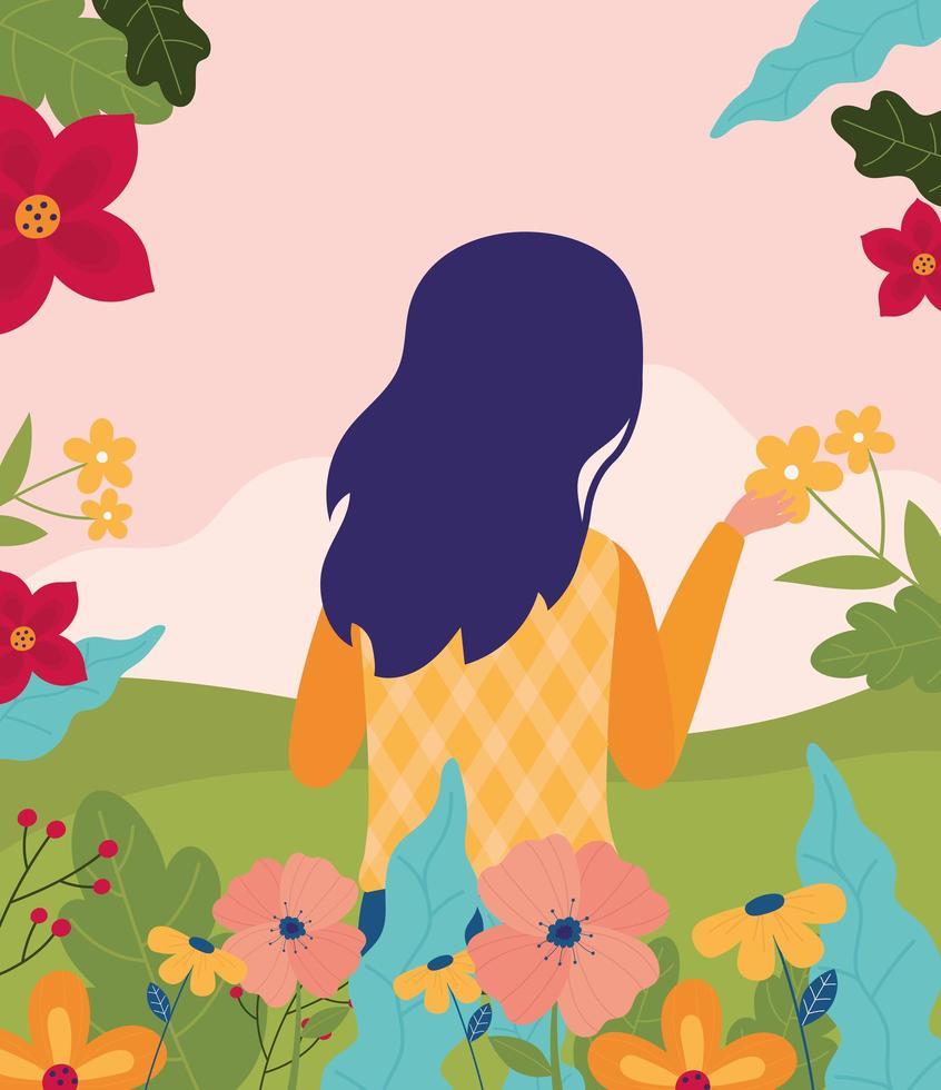 cartel de celebración de primavera con mujer y flores vector