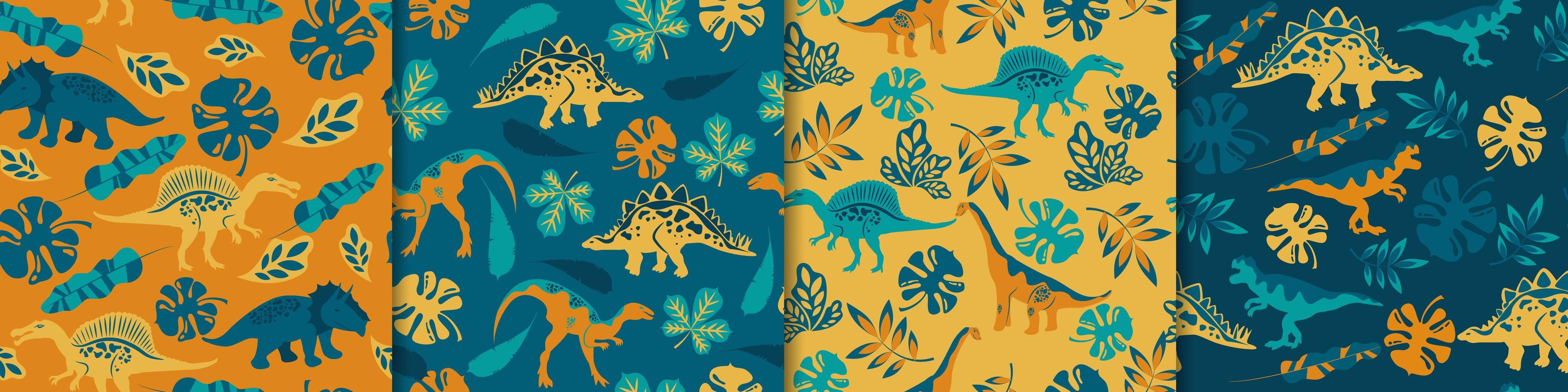 Dinosaurs seamless patterns vector