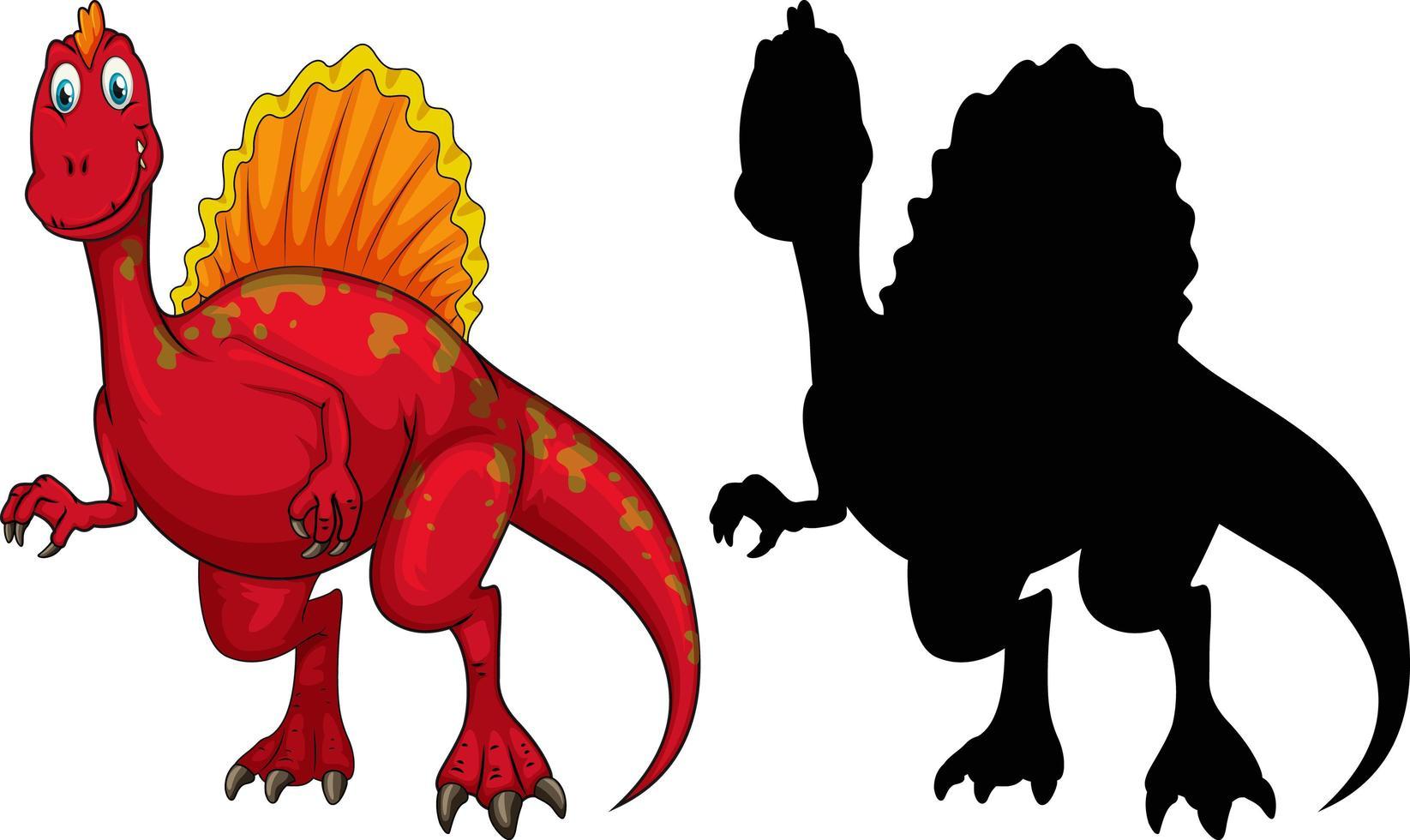 conjunto de personaje de dibujos animados de dinosaurios y su silueta vector