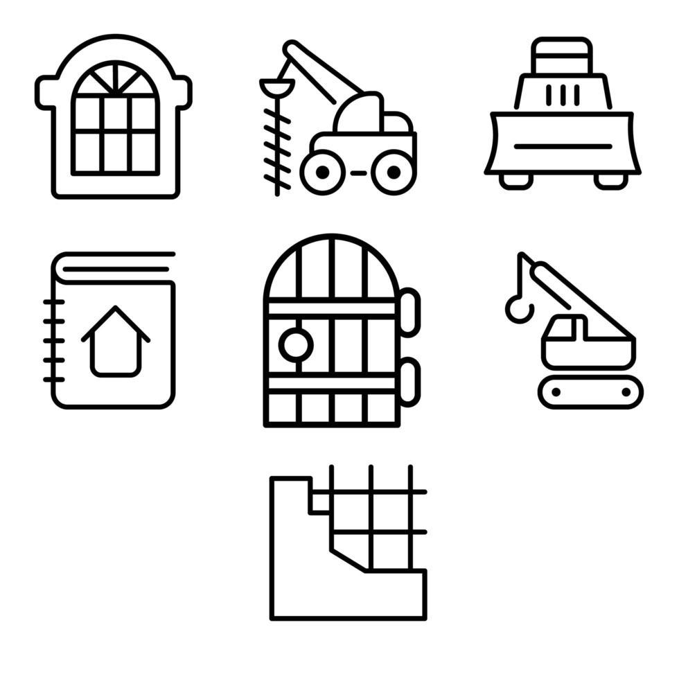conjunto de diseño de iconos de construcción vector