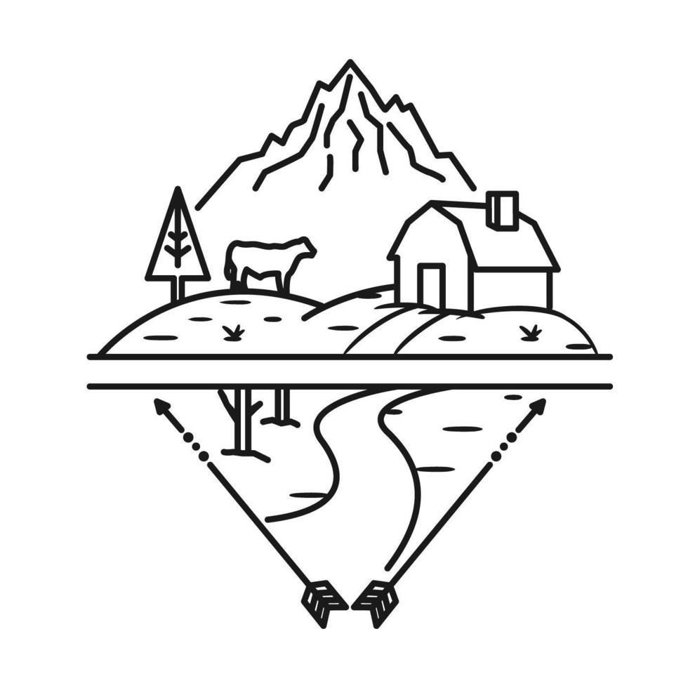 granja, montaña y vaca, diseño de arte lineal vector