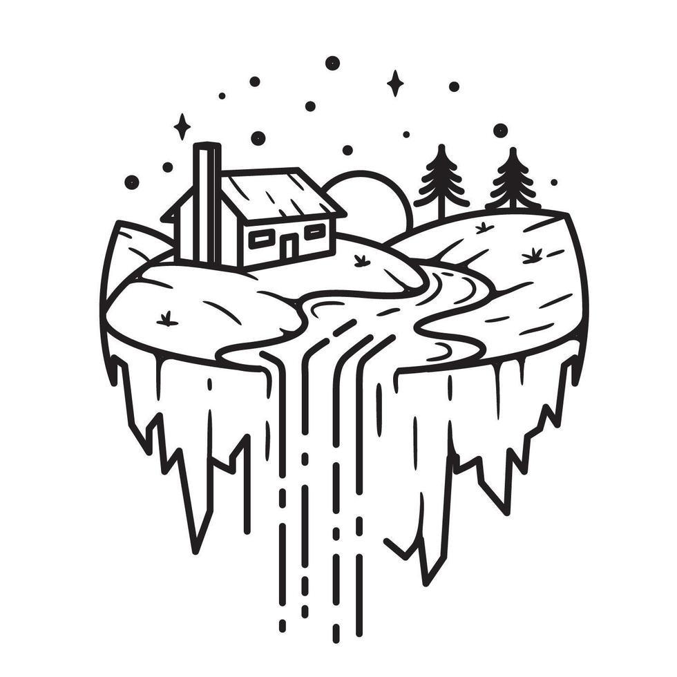 granja y cascada, diseño de arte lineal vector