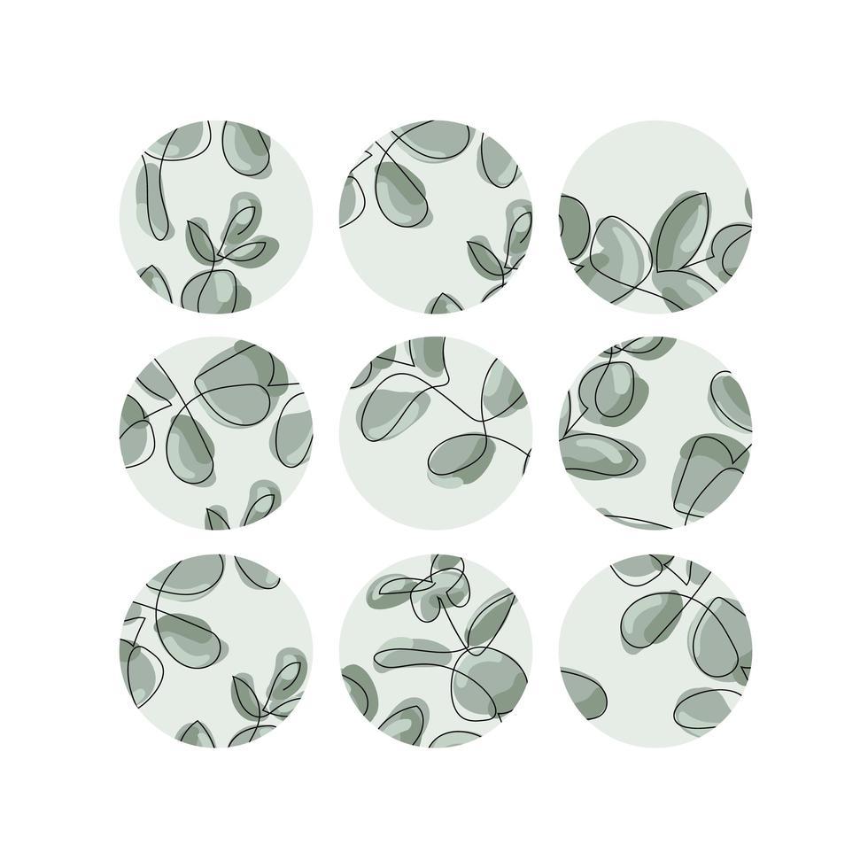 hojas de eucalipto verde conjunto de iconos redondos vector