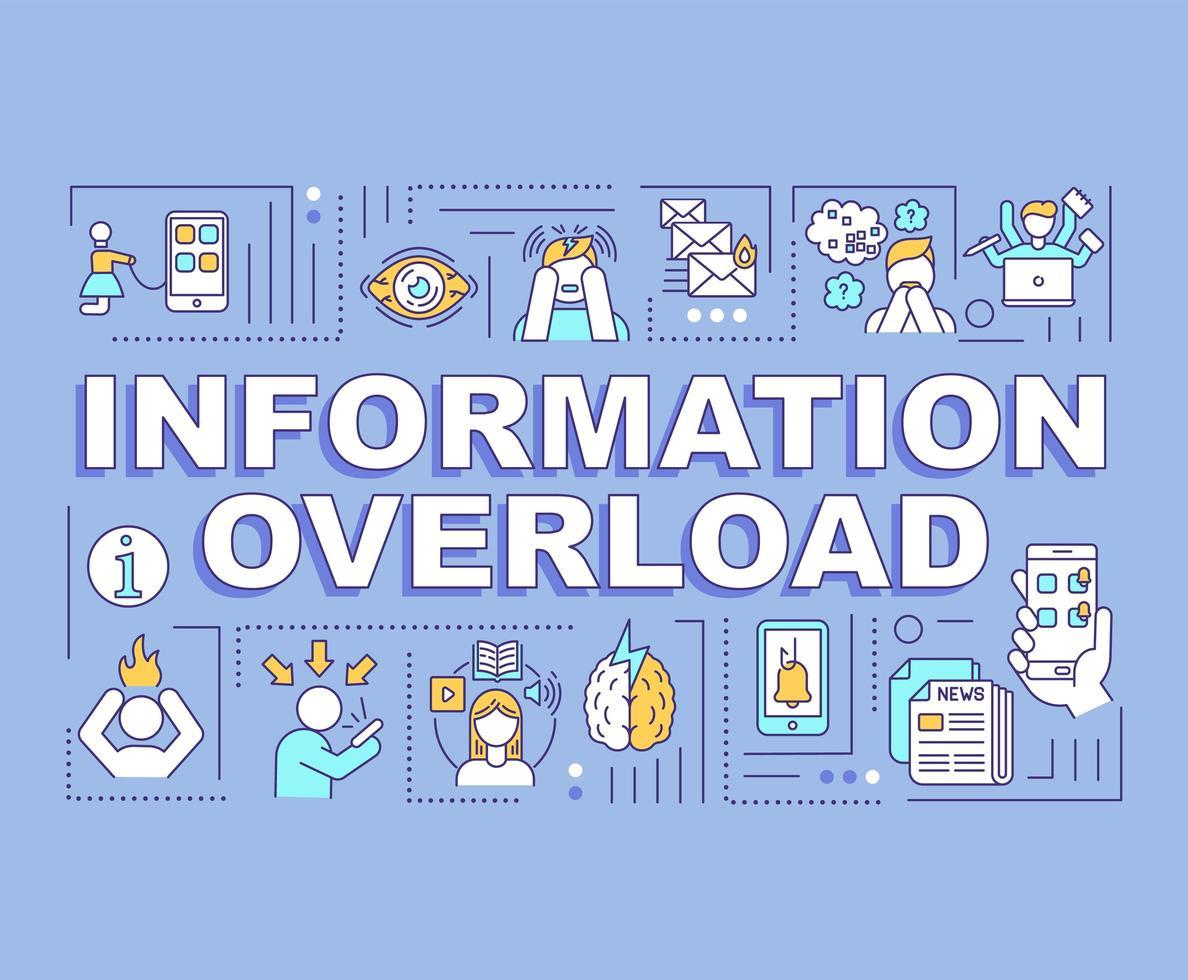 concepto de sobrecarga de información, bandera azul vector