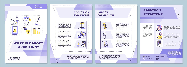 síntomas de adicción a gadgets, plantilla de folleto vector
