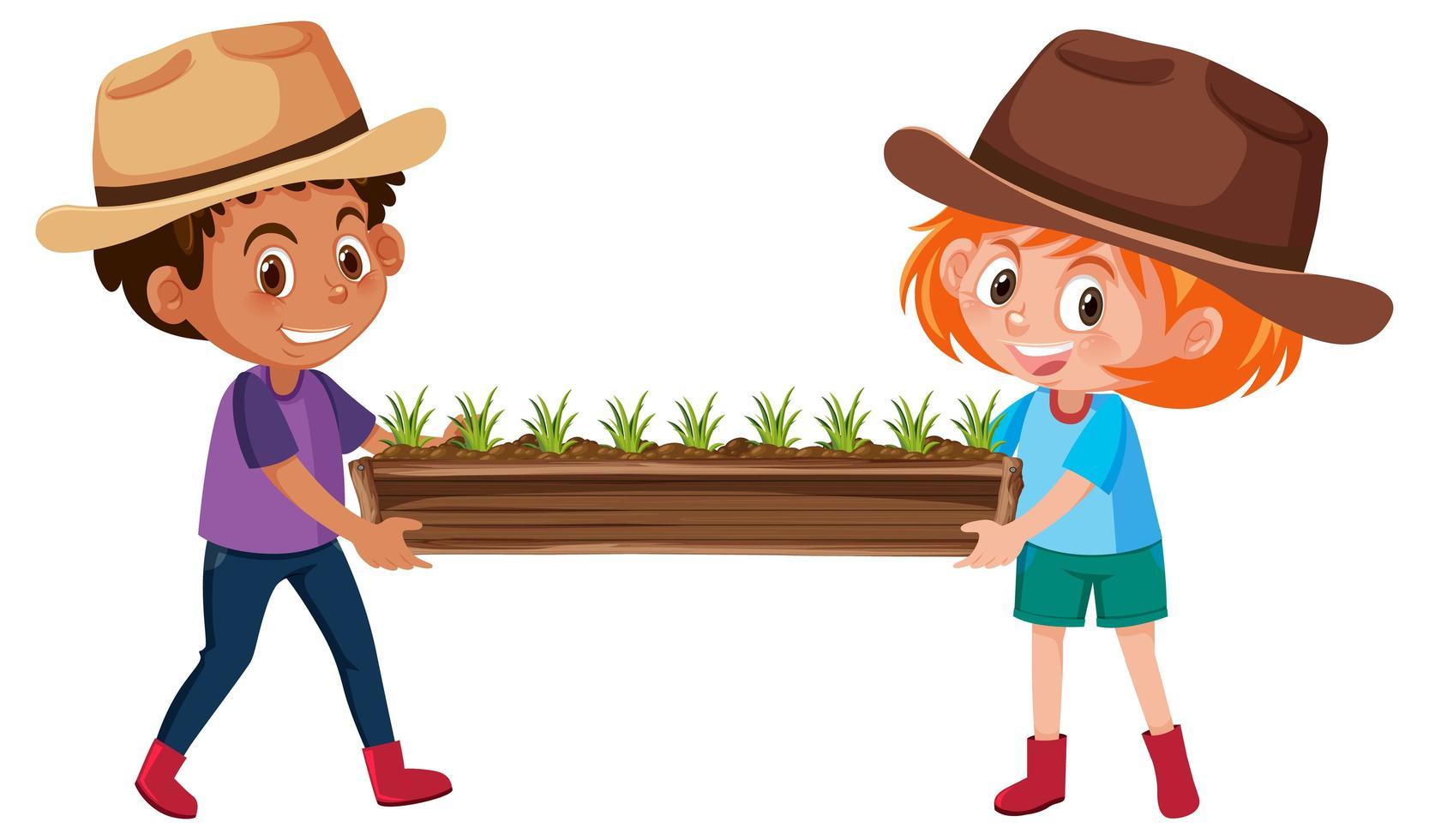 niño y niña sosteniendo plantas en maceta de madera vector