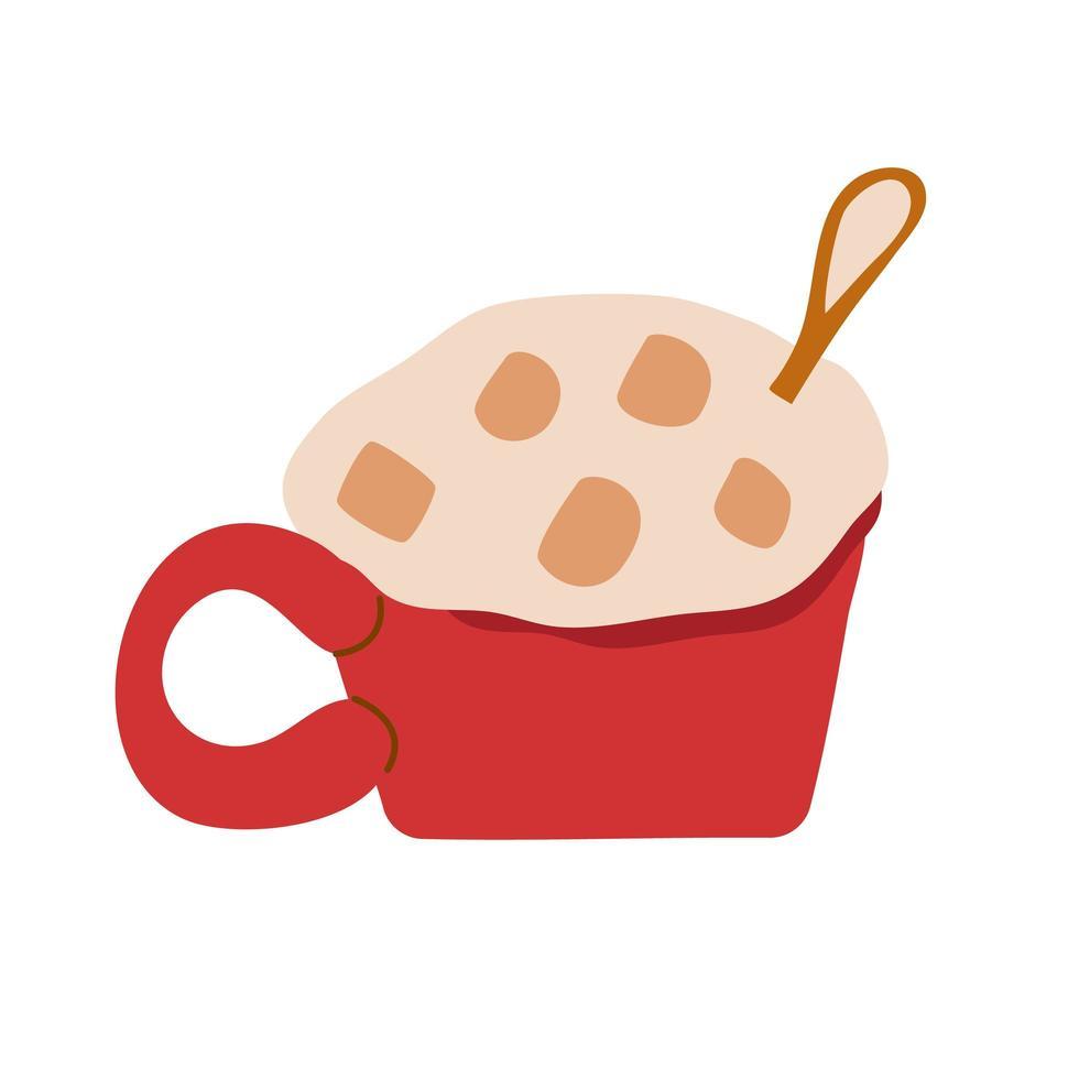 taza roja con chocolate caliente y malvaviscos vector