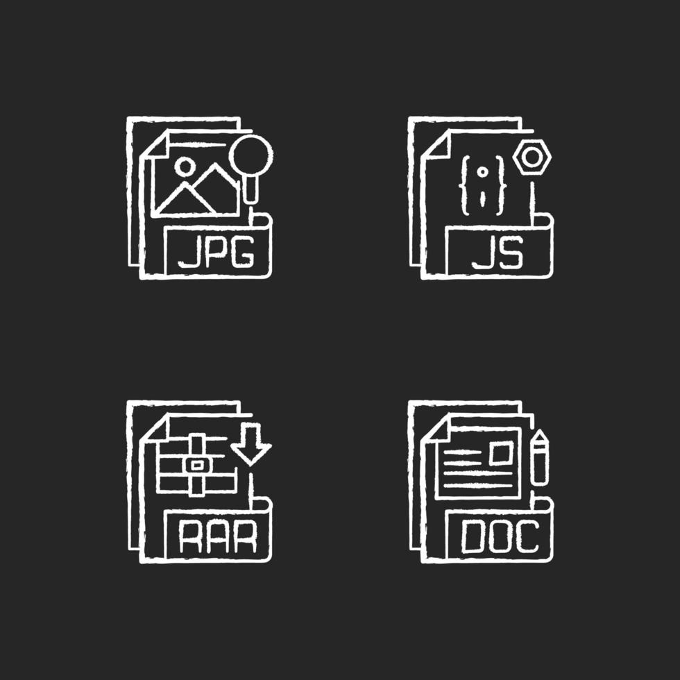tipos de archivo, conjunto de iconos de tiza blanca vector
