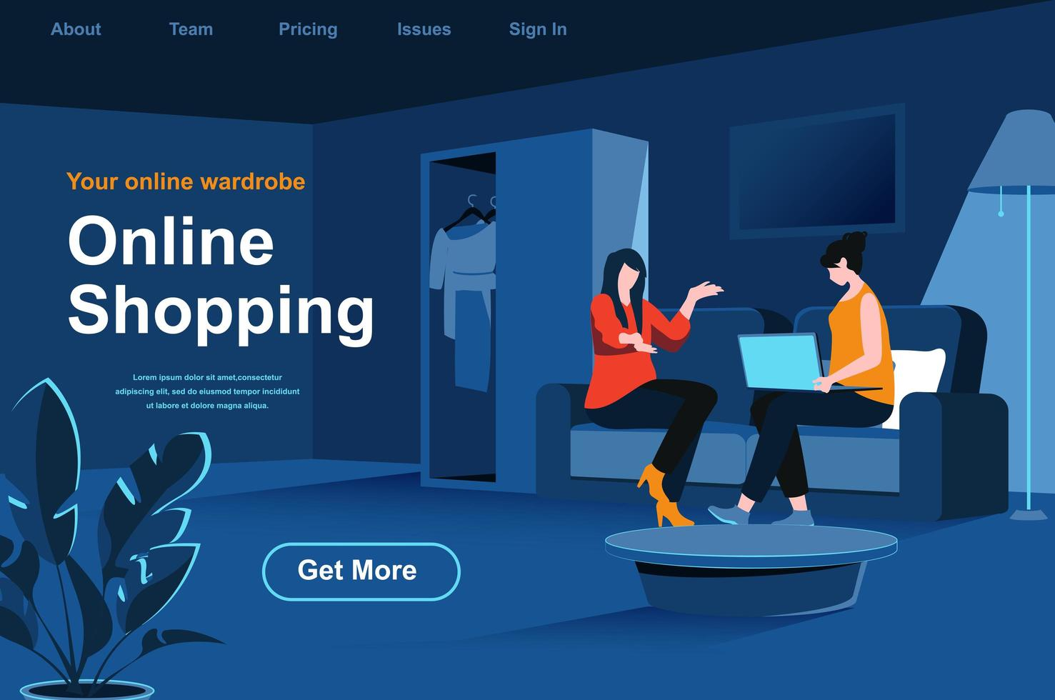Online shopping isometric landing page vector