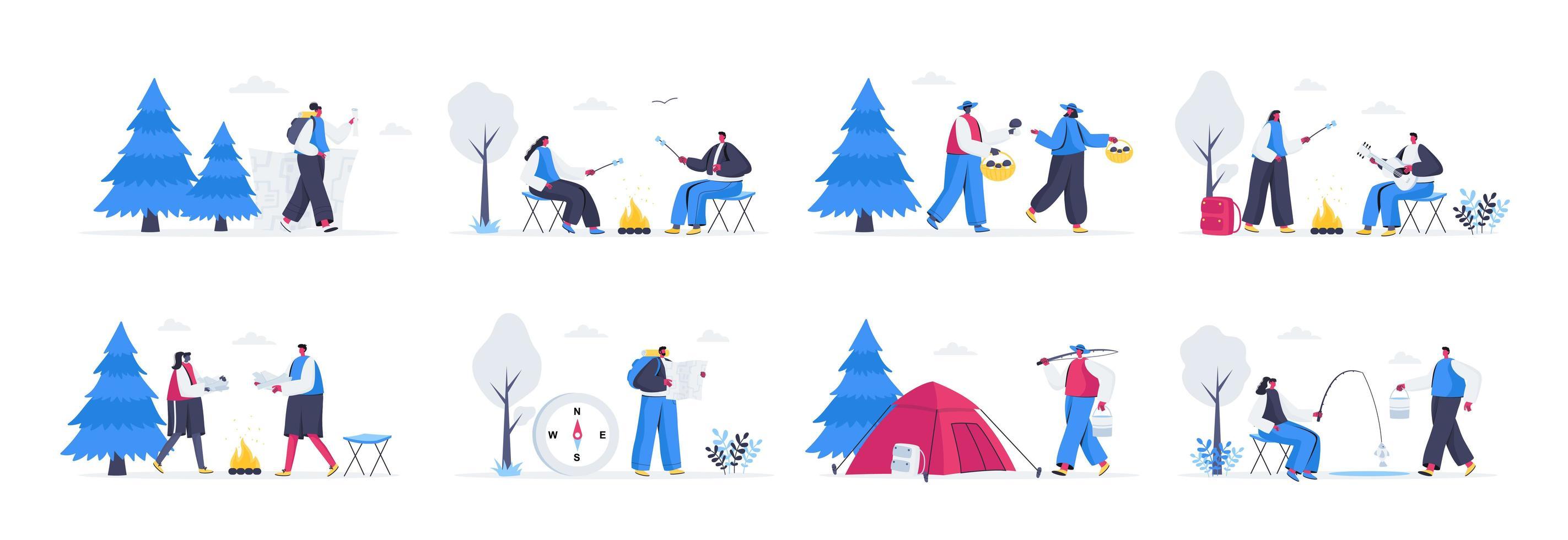 paquete de escenas de campamento de verano vector
