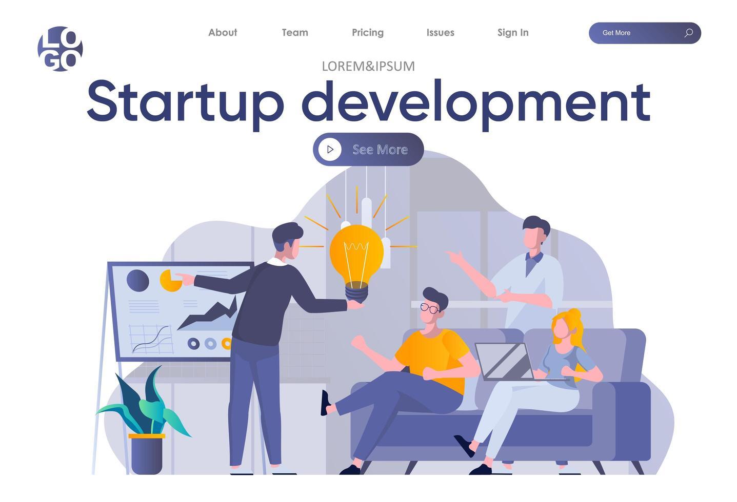 página de inicio de desarrollo de inicio con encabezado vector