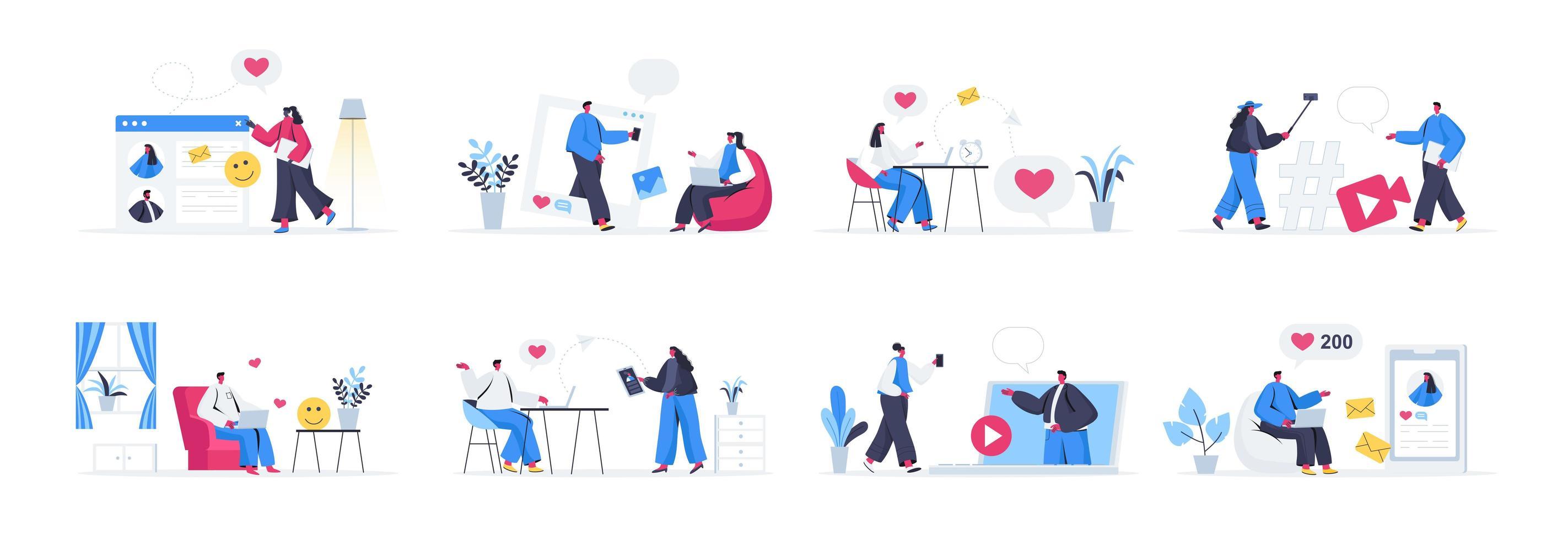 paquete de escenas de redes sociales vector