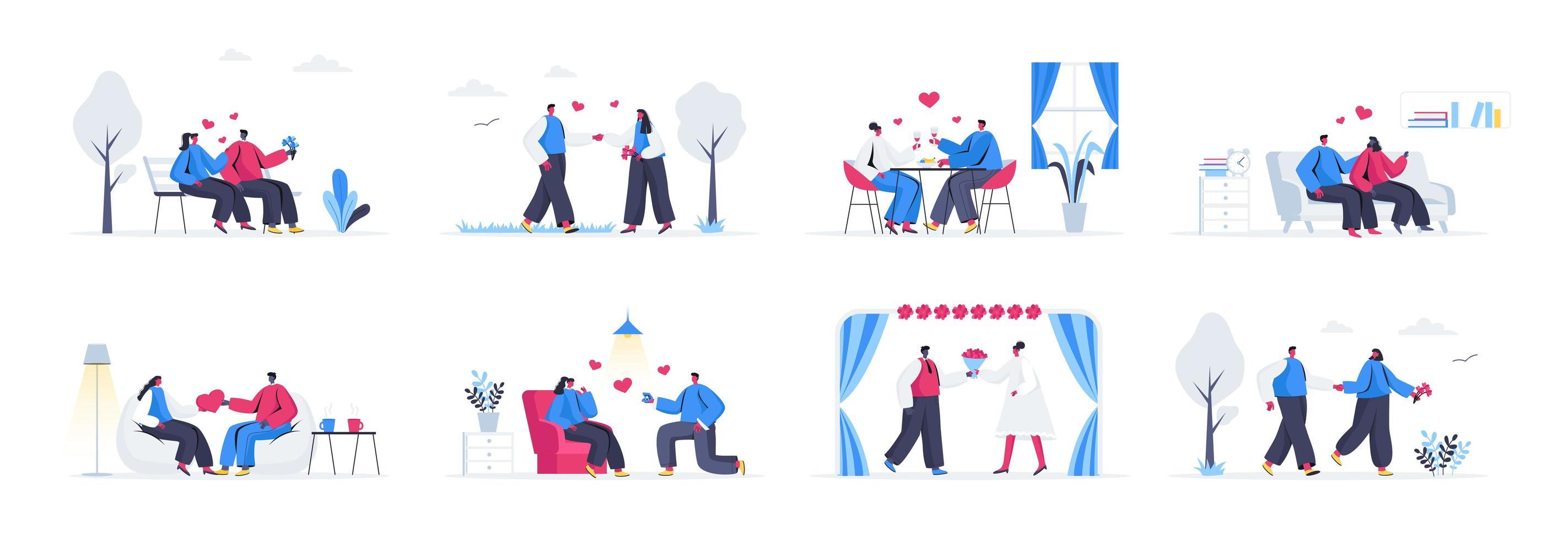 Bundle of love couple scenes vector